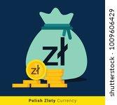 polish zloty money bag icon... | Shutterstock .eps vector #1009606429