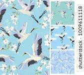crane  pattern  vector ...   Shutterstock . vector #1009611118