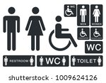 wc sign for restroom. toilet... | Shutterstock .eps vector #1009624126