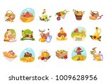 farm products and animals set... | Shutterstock .eps vector #1009628956