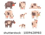 toy simple geometric farm cows... | Shutterstock .eps vector #1009628983
