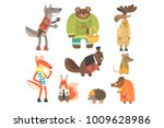 forest animals dressed in human ... | Shutterstock .eps vector #1009628986