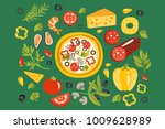 pizza surrounded with different ... | Shutterstock .eps vector #1009628989