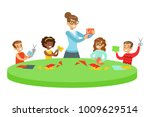 children in art class two... | Shutterstock .eps vector #1009629514