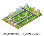 city quarter top view | Shutterstock . vector #1009630420