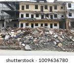 demolish building with debris... | Shutterstock . vector #1009636780
