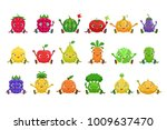 fruit and berries cute girly... | Shutterstock .eps vector #1009637470