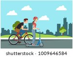 woman riding a scooter with... | Shutterstock .eps vector #1009646584