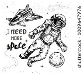 hand drawn set astronaut and... | Shutterstock .eps vector #1009647976