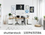white working area with chairs... | Shutterstock . vector #1009650586