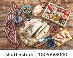 italian antipasti with wine and ... | Shutterstock . vector #1009668040
