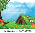 fantasy house with a sod roof... | Shutterstock .eps vector #100967770