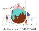 happy easter scene with... | Shutterstock .eps vector #1009678690