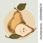 yellow tasty pear line... | Shutterstock .eps vector #1009688674