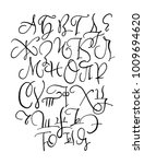 hand drawn ink cyrillic... | Shutterstock .eps vector #1009694620