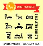 parking icon set with red tape...   Shutterstock .eps vector #1009695466