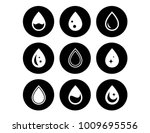 drop on black round icons set | Shutterstock .eps vector #1009695556