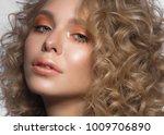 beautiful blonde girl with... | Shutterstock . vector #1009706890