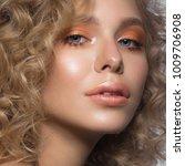 beautiful blonde girl with... | Shutterstock . vector #1009706908