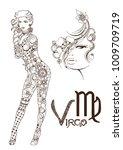 stylized zodiac sign of virgo | Shutterstock .eps vector #1009709719