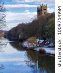 Small photo of DURHAM, COUNTY DURHAM/UK - JANUARY 19 : View along the River Wear to the Cathedral in Durham, County Durham on January 19, 2018