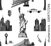 seamless pattern of hand drawn... | Shutterstock .eps vector #1009717246