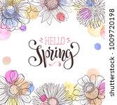 hello spring text. spring... | Shutterstock .eps vector #1009720198