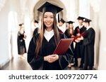 the asian girl is standing in... | Shutterstock . vector #1009720774