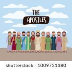 the apostles and jesus in daily ... | Shutterstock .eps vector #1009721380