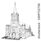 the building of the catholic...   Shutterstock .eps vector #1009722730