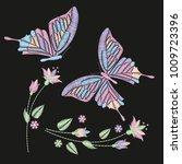 set collection of butterflies... | Shutterstock .eps vector #1009723396