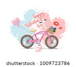 happy valentine's day card.... | Shutterstock .eps vector #1009723786