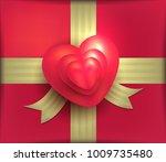gift package rose heart red... | Shutterstock . vector #1009735480
