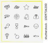 military line icon set radar ... | Shutterstock .eps vector #1009736200