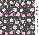 watercolor field carnations ... | Shutterstock . vector #1009756426