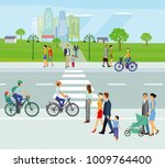 city with pedestrians and... | Shutterstock . vector #1009764400
