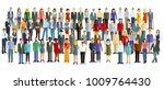 a large group of people stand... | Shutterstock . vector #1009764430
