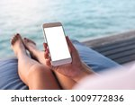 mockup image of a woman using... | Shutterstock . vector #1009772836