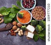 vegan sources of protein.... | Shutterstock . vector #1009777210