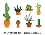 collection of cactus in pots... | Shutterstock .eps vector #1009780633