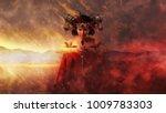 gothic queen in red dress doing ...   Shutterstock . vector #1009783303