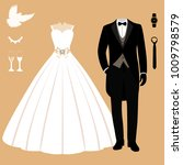 wedding card with the clothes... | Shutterstock .eps vector #1009798579