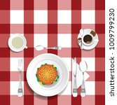 table for lunch with hamburger... | Shutterstock .eps vector #1009799230