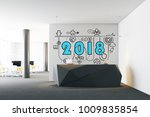 2018 and a business sketch... | Shutterstock . vector #1009835854