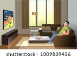image of cheerful father with... | Shutterstock .eps vector #1009839436