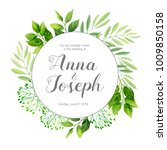 wedding invitation with green... | Shutterstock .eps vector #1009850158
