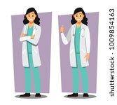 diverse set of female doctor  ... | Shutterstock .eps vector #1009854163