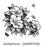 peony or rose flower branch... | Shutterstock .eps vector #1009857430