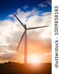 wind turbine with straw bales... | Shutterstock . vector #1009858183