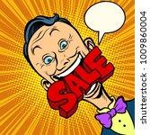 sale pop art man manager. comic ... | Shutterstock .eps vector #1009860004